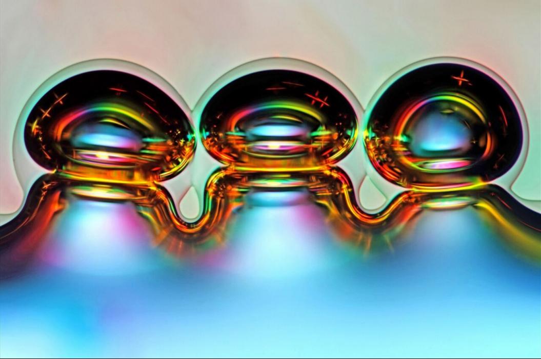 Burbujas de aire formadas a partir de cristales de ácido ascórbico fundido (luz polarizada).