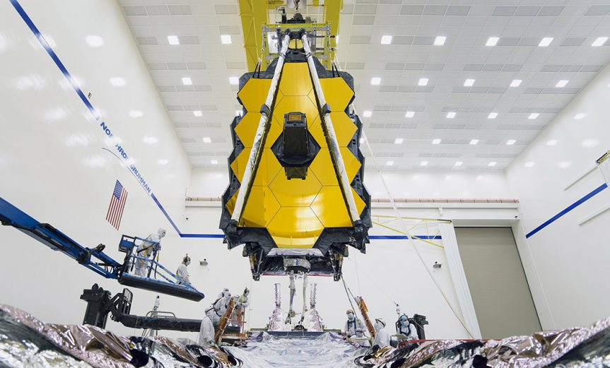 A view of the James Webb Space Telescope from its sun shield during a deployment test at Northrop Grumman in Redondo Beach. (Photo courtesy Northrop Grumman)