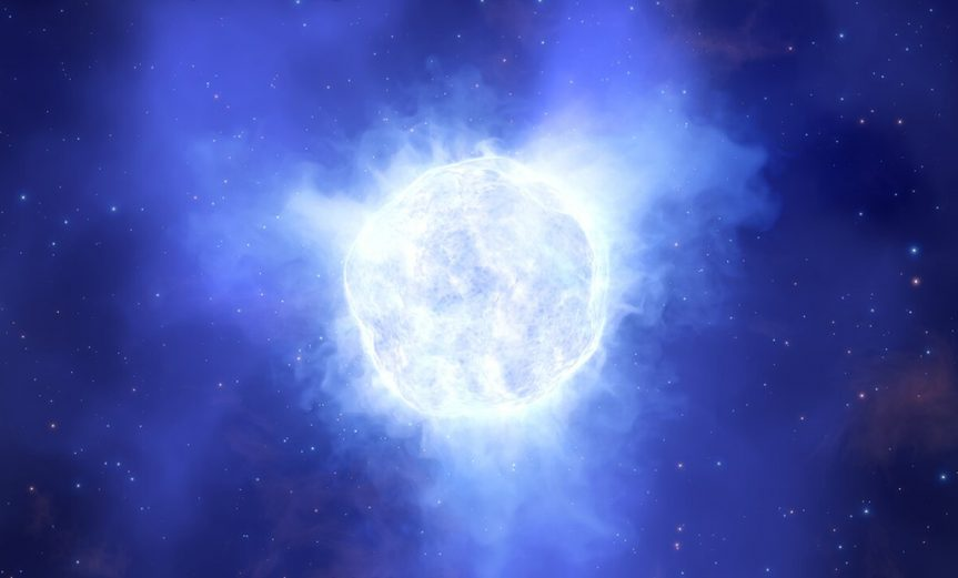 This illustration shows what the luminous blue variable star in the Kinman Dwarf galaxy could have looked like before its mysterious disappearance.