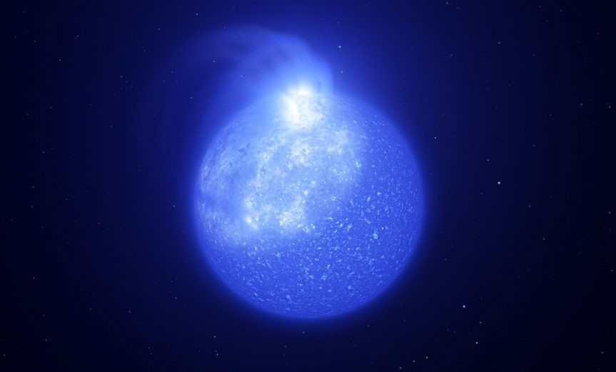 Astronomers using ESO telescopes have discovered giant spots on the surface of extremely hot stars hidden in stellar clusters, called extreme horizontal branch stars. This image shows an artist's impression of what one of these stars, and its giant whitish spot, might look like. The spot is bright, takes up a quarter of the star's surface and is caused by magnetic fields. As the star rotates, the spot on its surface comes and goes, causing visible changes in brightness.